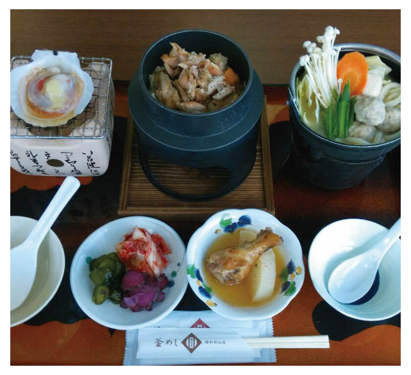 Chicken Kama-meshi and Shinzan nabe set meal