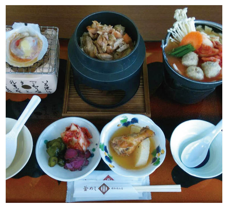 Chicken Kama-meshi and funka-nabe set meal