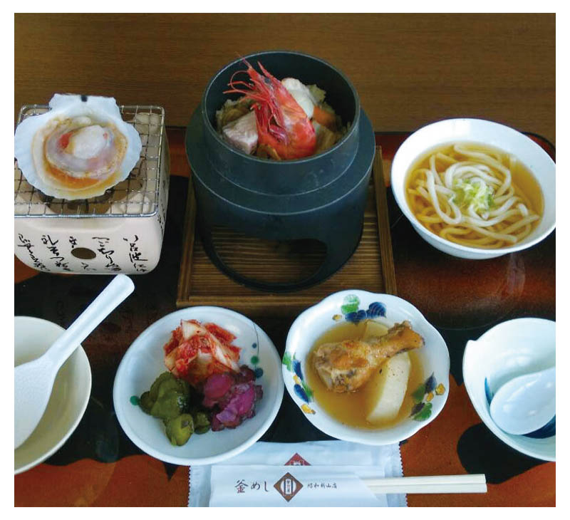 Three color Kama-meshi set meal
